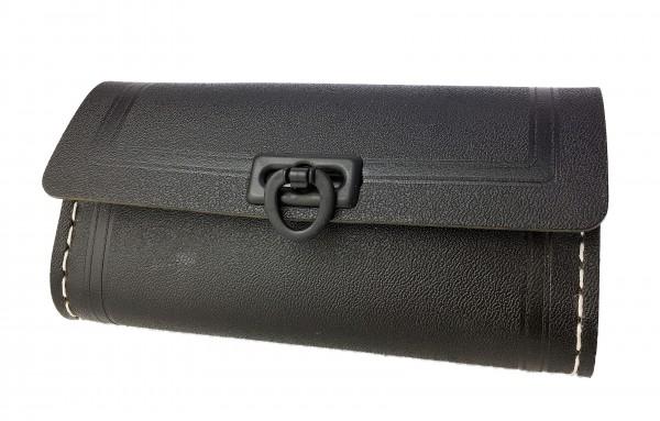 Borsa portattrezzi da sella, piccola, nera, 1 chiusura nera in materiale plastico