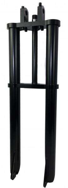 Forcella a doppia piastra extra-larga e spessa, 700 mm, 50 mm, nera per cerchioni fino a 26-28
