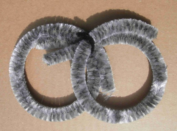 Anelli di pulizia color grigio argentato in ciniglia, 2 grandi