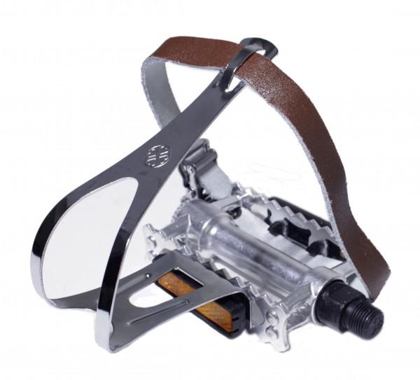 Rat-Trap Sport in alluminio / Pedali da turismo con gancio e cinghie in pelle