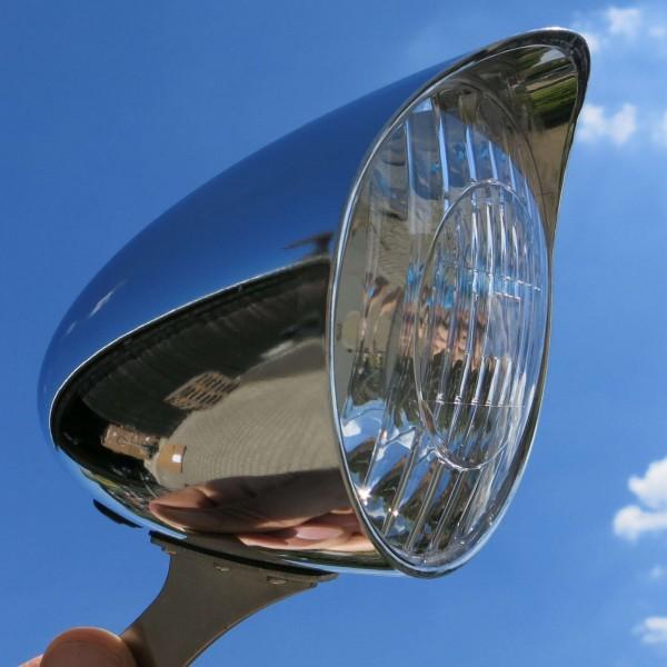 Fanale frontale a LED Classic Cycle per dinamo 6V 90 mm cromato con parasole