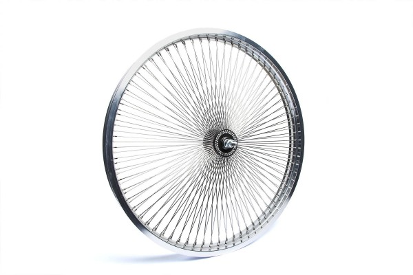 26 ruote anteriori, 140 raggi in alluminio lucido