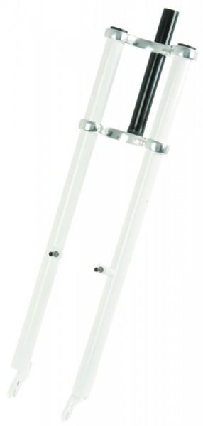 Forcella a doppia piastra 640 mm con steli bianchi