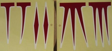 Kit di adesivi per telai Cruiser, rosso/bianco