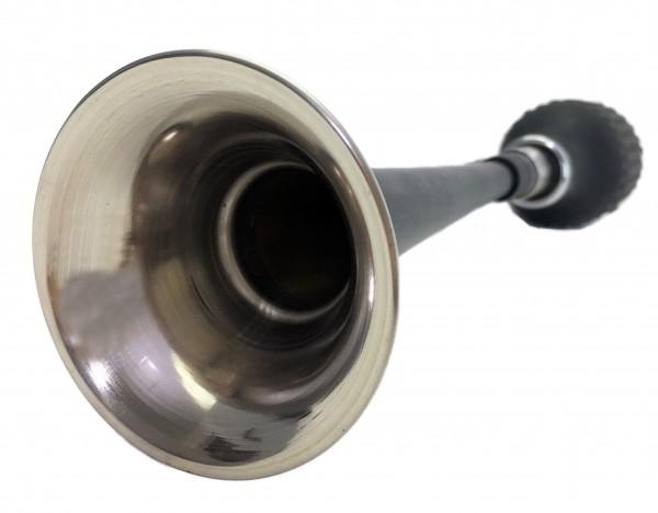 Trombetta a corno dritto e lungo in acciaio inox, verniciato di nero e dotato di supporto