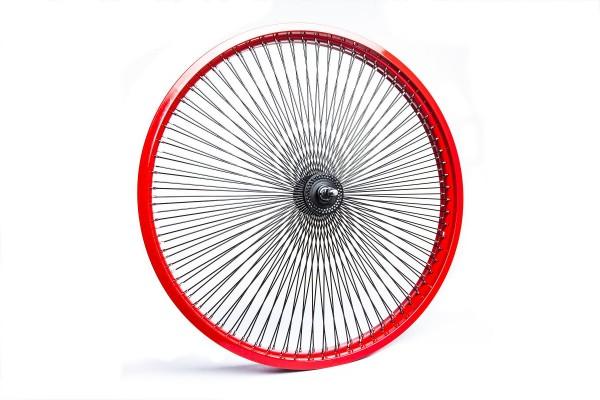 Ruota anteriore 26, 140 raggi con cerchione rosso e raggi neri