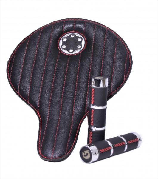Scatola speciale con sella in pelle all'avanguardia, nera con cuciture rosse e manopole